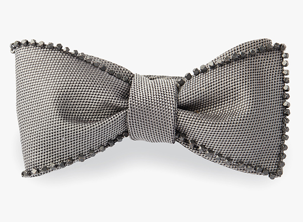 Image of Hematite Beaded Edge Bowtie