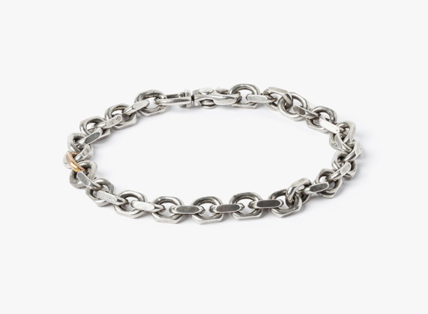 Image of Solid Cable w/ 18k Rose Gold Link Bracelet