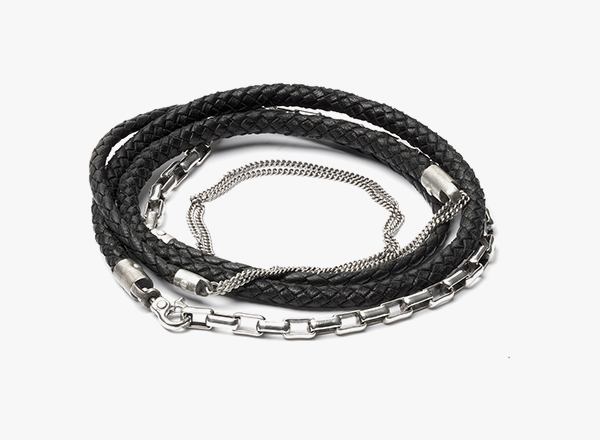 5 Wrap 3mm Leather to Sterling Bracelet