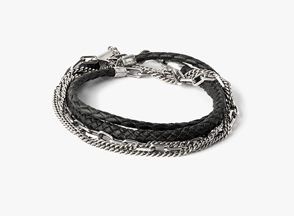 Image of 5 Multi-Wrap Braided Leather to Silver Bracelet