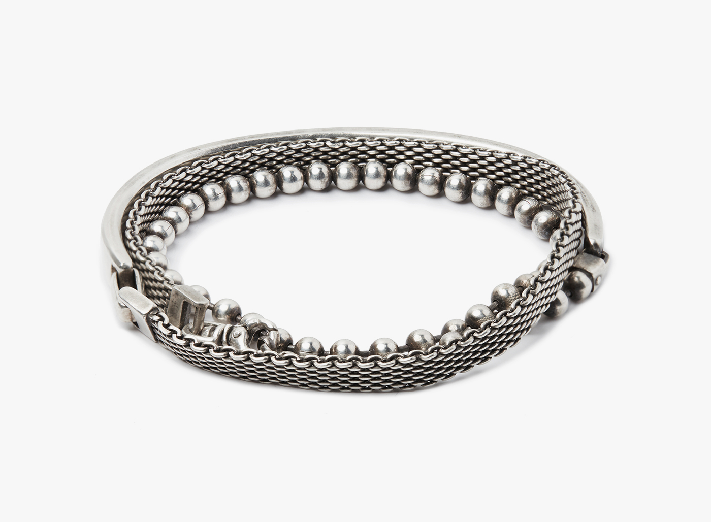 Image of 3 Wrap- Cuff to Medium Mesh/ Round Cable Chain Bracelet