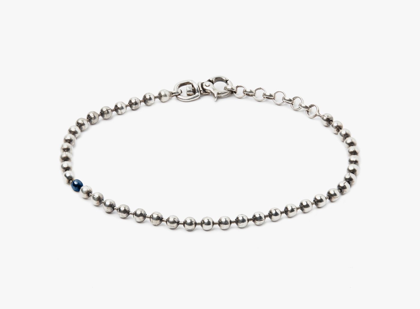 Image of Sterling Silver Ball Chain w/ 3mm Black Pearl Bracelet