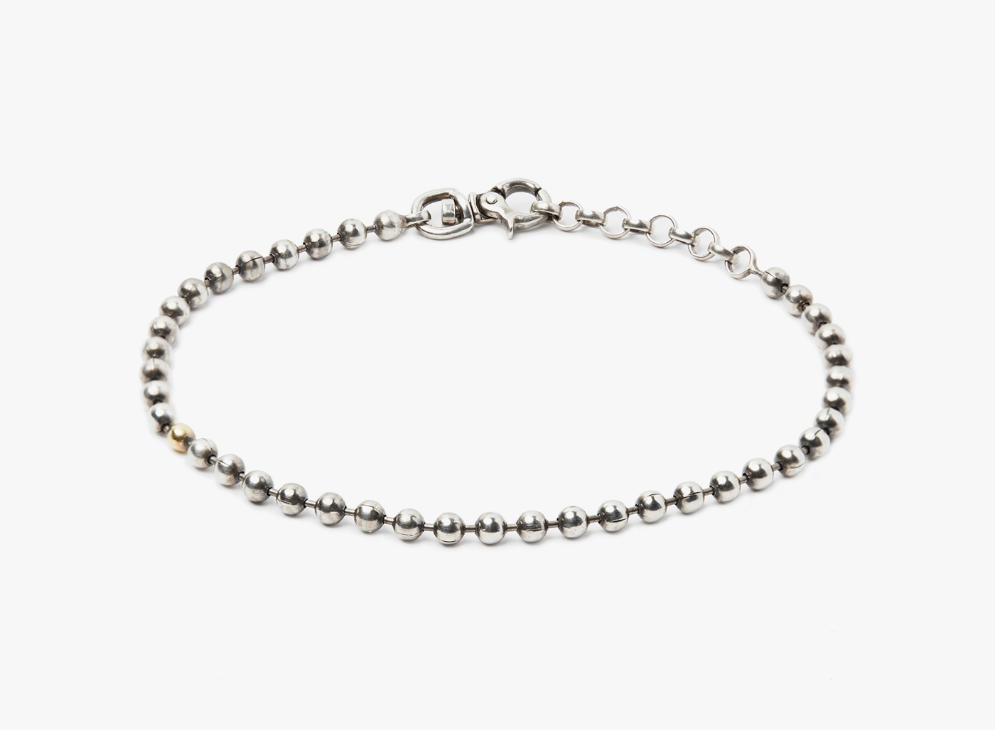 Image of Sterling Silver Ball Chain w/ 3mm Gold Ball Bracelet