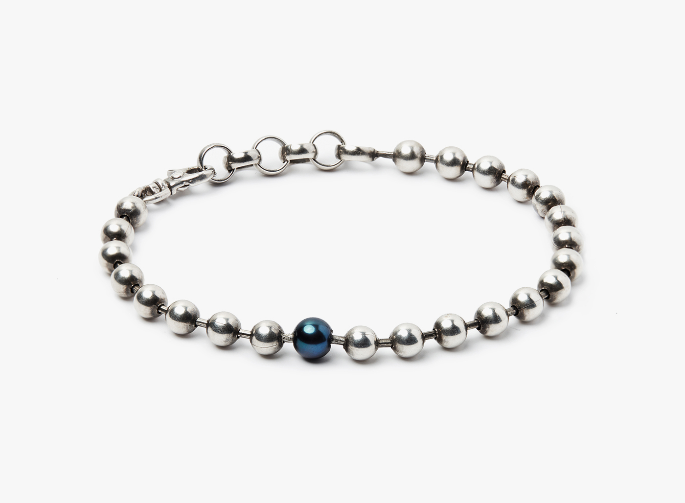 Image of Sterling Silver Ball Chain w/ Single 6mm Black Pearl Bracelet