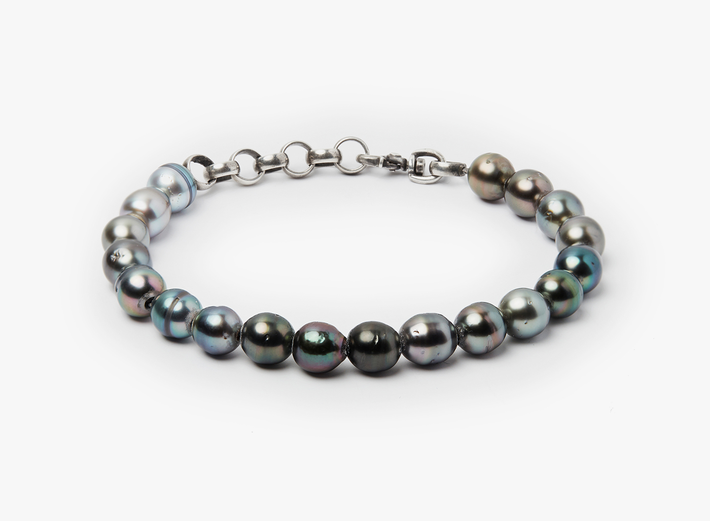 Image of 8mm Tahitian Pearls on Curb Chain Bracelet