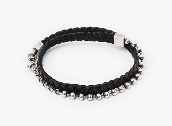 Image of Double Wrap Leather Braid to Sterling Silver Ball Chain Bracelet