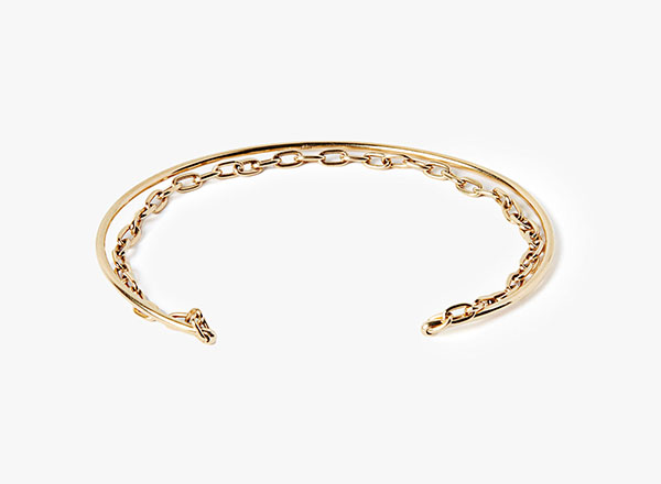 Image of 18k Yellow Gold Oval Chain to Cuff Bracelet