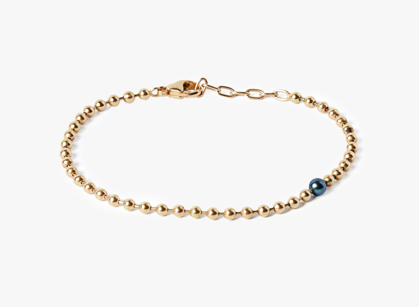 Image of 18k Yellow Gold Chain w/ Single Black Pearl Bracelet