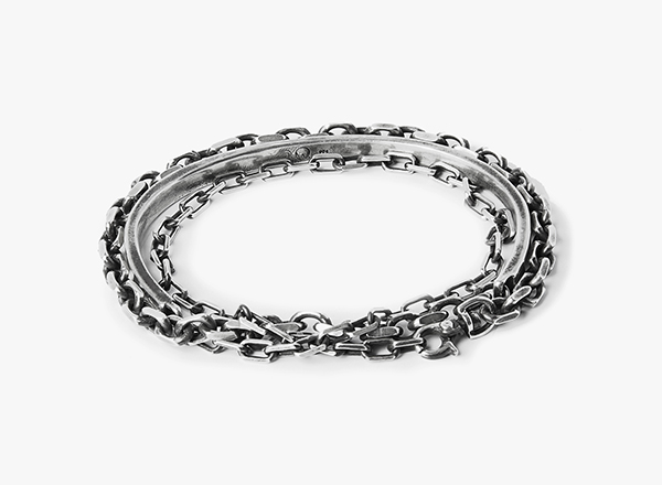 Image of Drawn Cable / Solid Cuff / Anchor Chain Wrap Bracelet