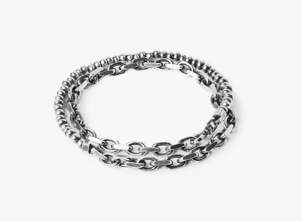 Image of Double Wrap Solid Cable / Silver Beads Bracelet