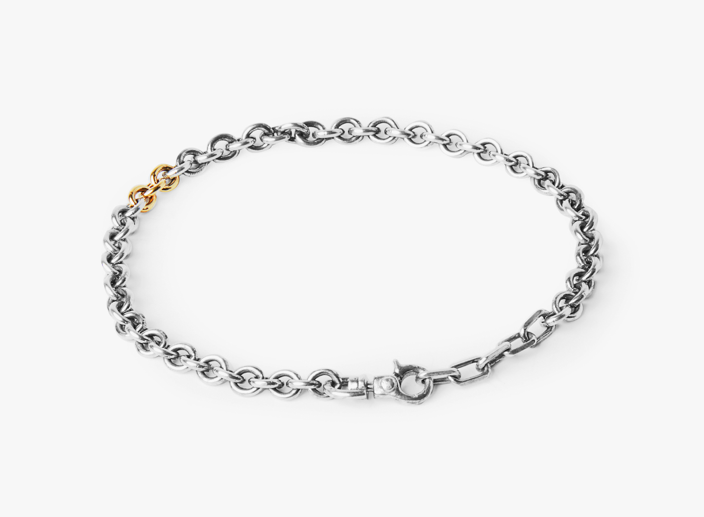 Image of Round Cable / 3- 18k Gold Links Bracelet