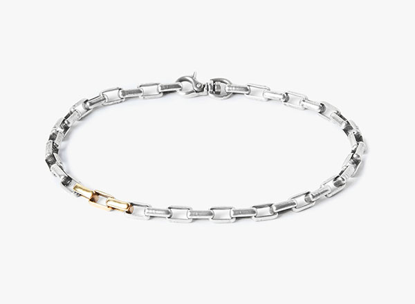 Image of Box Chain / 3- 18k Gold Links Bracelet
