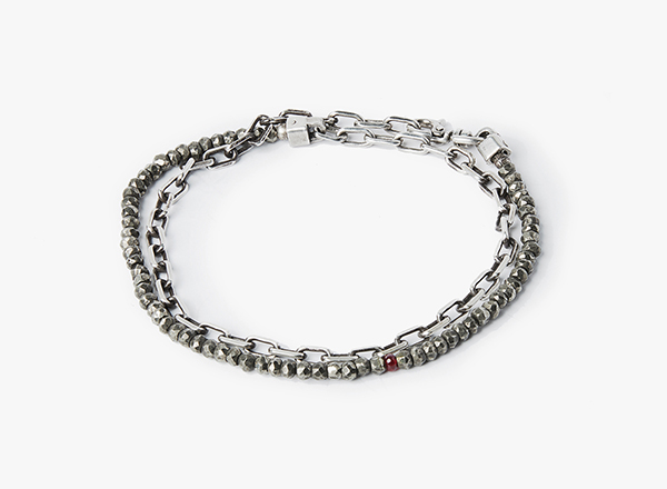 Image of Pyrite w/ Ruby / Anchor Chain Wrap Bracelet