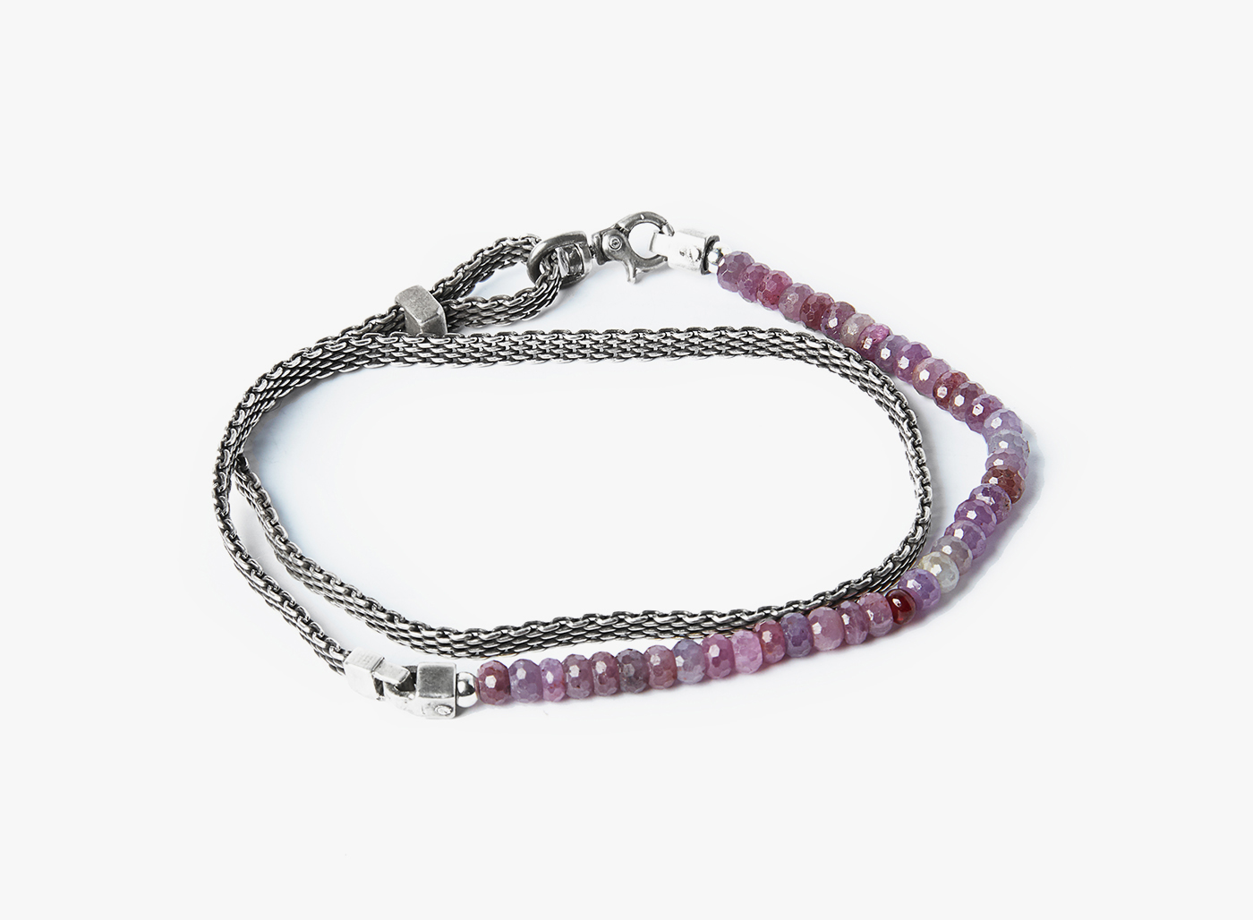 Image of Pink Sapphire w/ Ruby / Adjustable Micro Mesh Wrap Bracelet