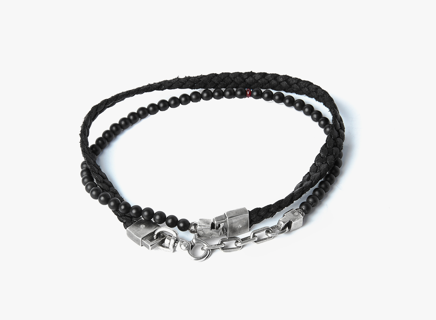 Image of Onyx w/ Ruby / Flat Braid Double Wrap Bracelet