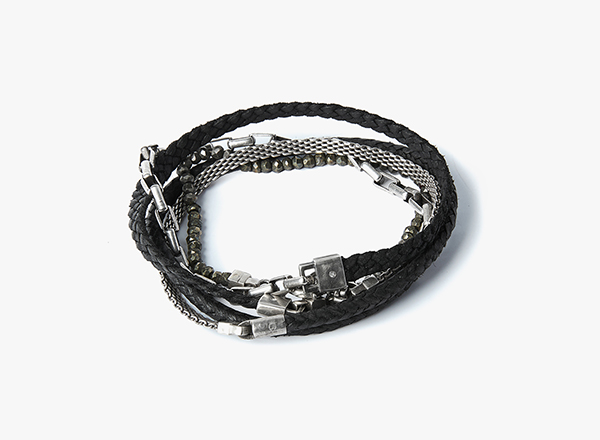 Image of Pyrite w/ Ruby / Box Chain / Micro Mesh / Nappa Braid Multi-Wrap Bracelet