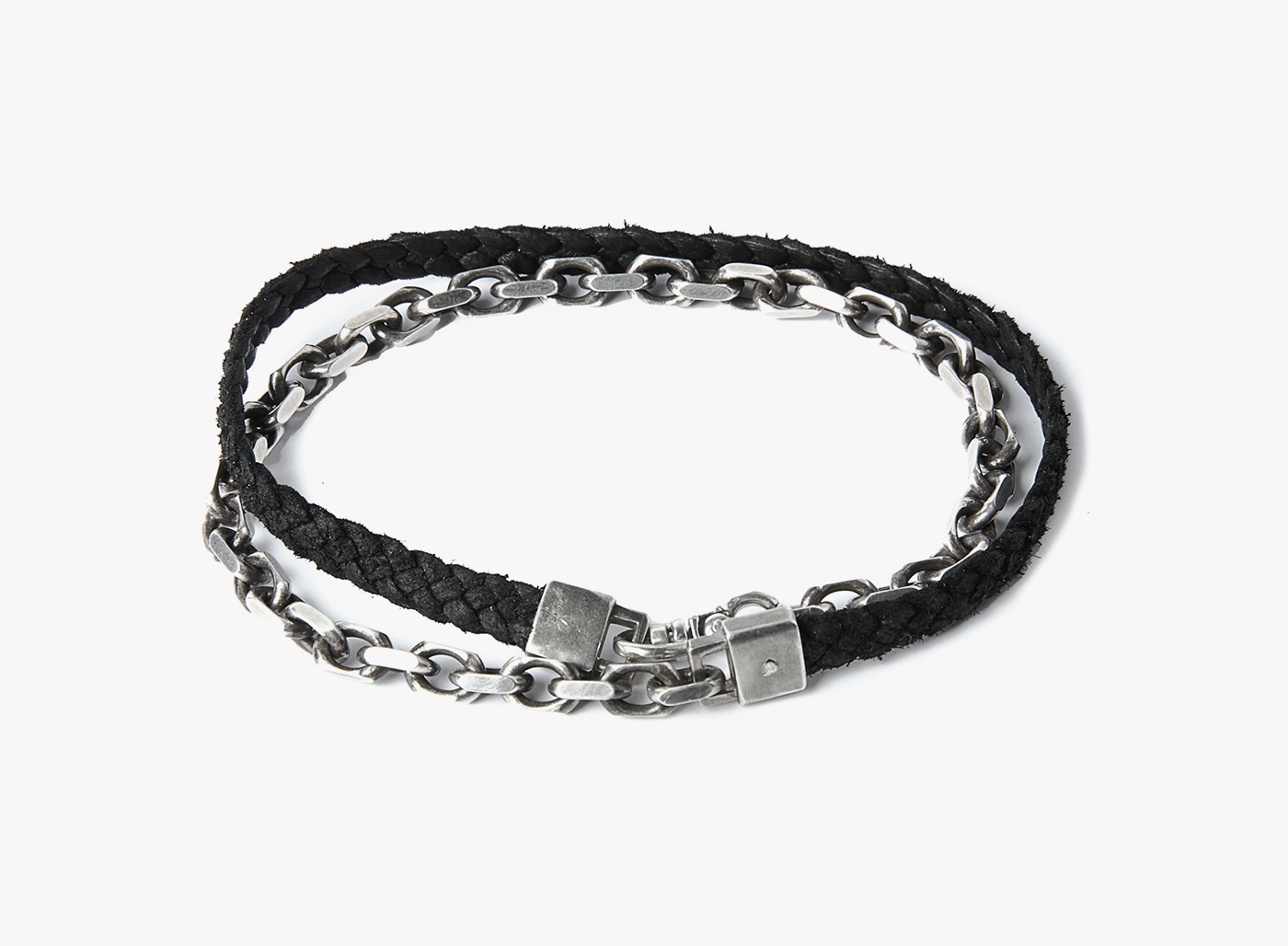 Image of Solid Cable / Nappa Braid Double Wrap Bracelet