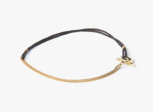 Image of 18k Gold Toggle / Curb Chain / Waxed Cotton Cord Bracelet