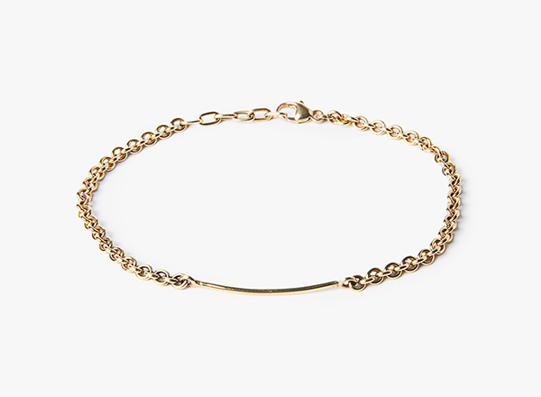 Image of 18k Gold / 15GA Bar / Round Cable Bracelet