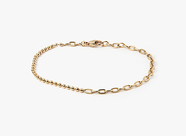 Image of 18k Gold Ball to Oval Chain Bracelet