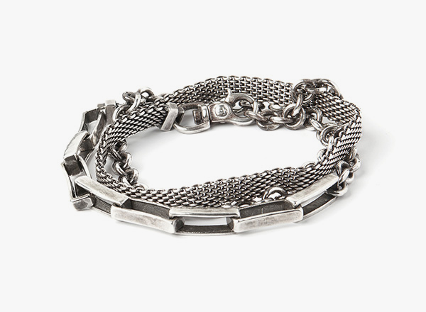 Image of 3 Wrap- Medium Mesh / Long Box Chain / Round Cable Bracelet