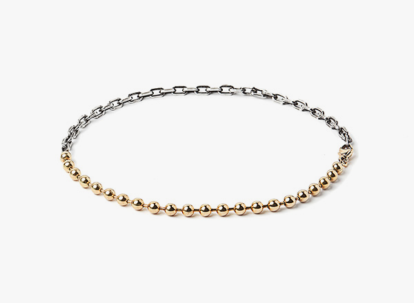 Image of 18K Gold Ball to Micro Anchor Cable Bracelet