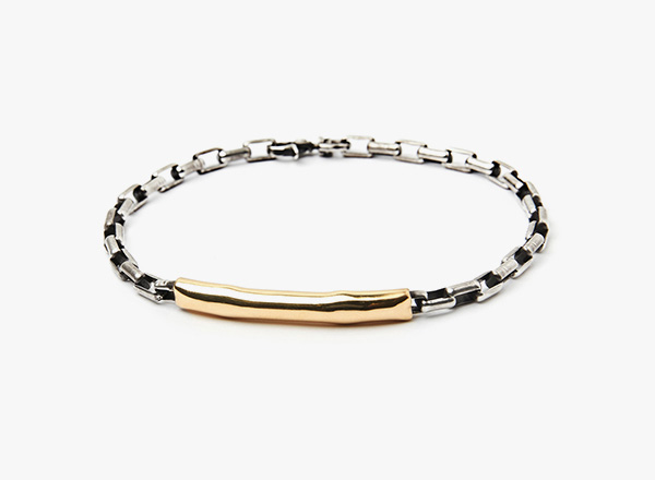 Image of 18k Gold Tube to Box Chain Bracelet
