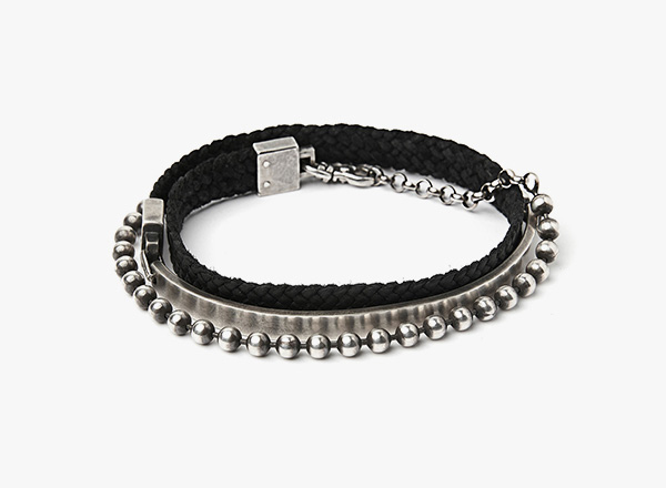 Image of Half Cuff / Flat Leather Braid / Bead Chain Bracelet