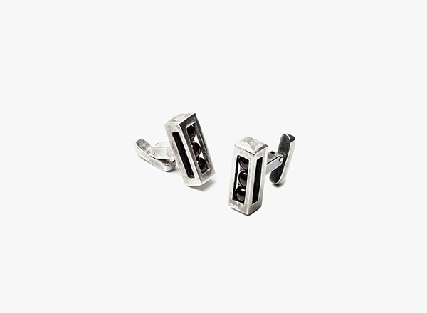 Image of 3 Encased Garnets Cufflinks