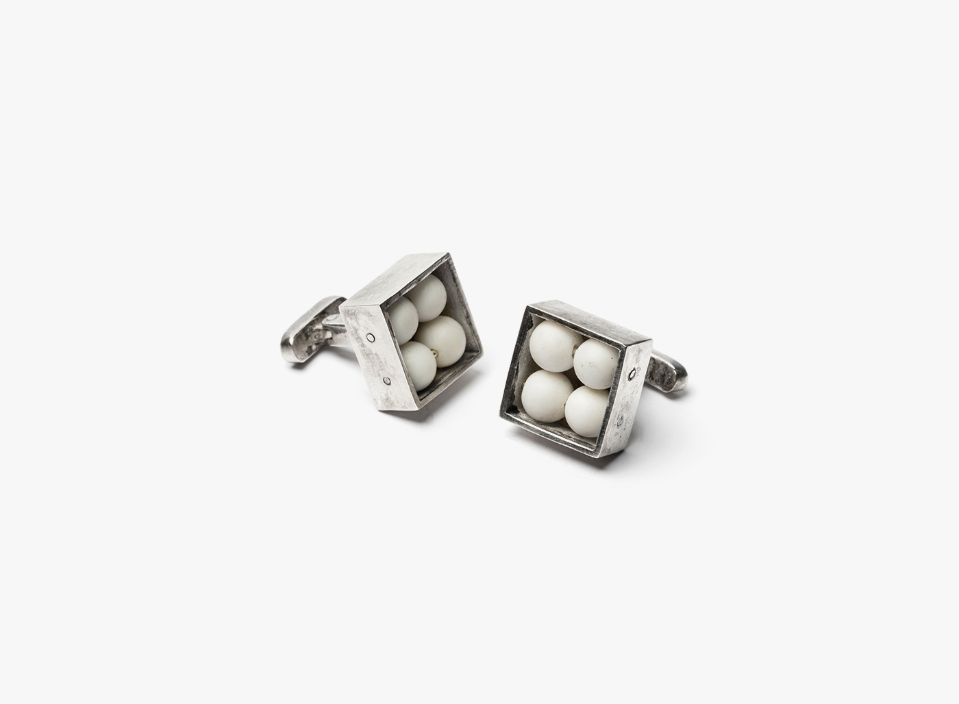 Image of 4 White Onyx in Square Cufflinks