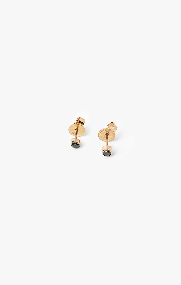 Image of 18k Gold Circle w/ Black Diamond Post Earrings 002