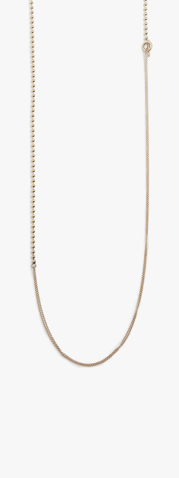Image of 18k Yellow Gold Ball Chain to Micro Cable Chain Necklace