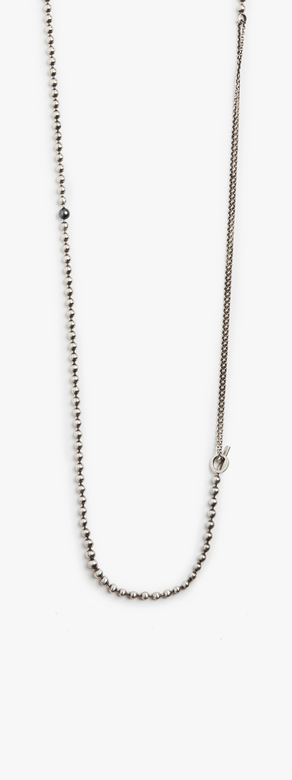 Image of 6mm Black Pearl to Sterling Silver Ball Chain / Micro Cable Necklace