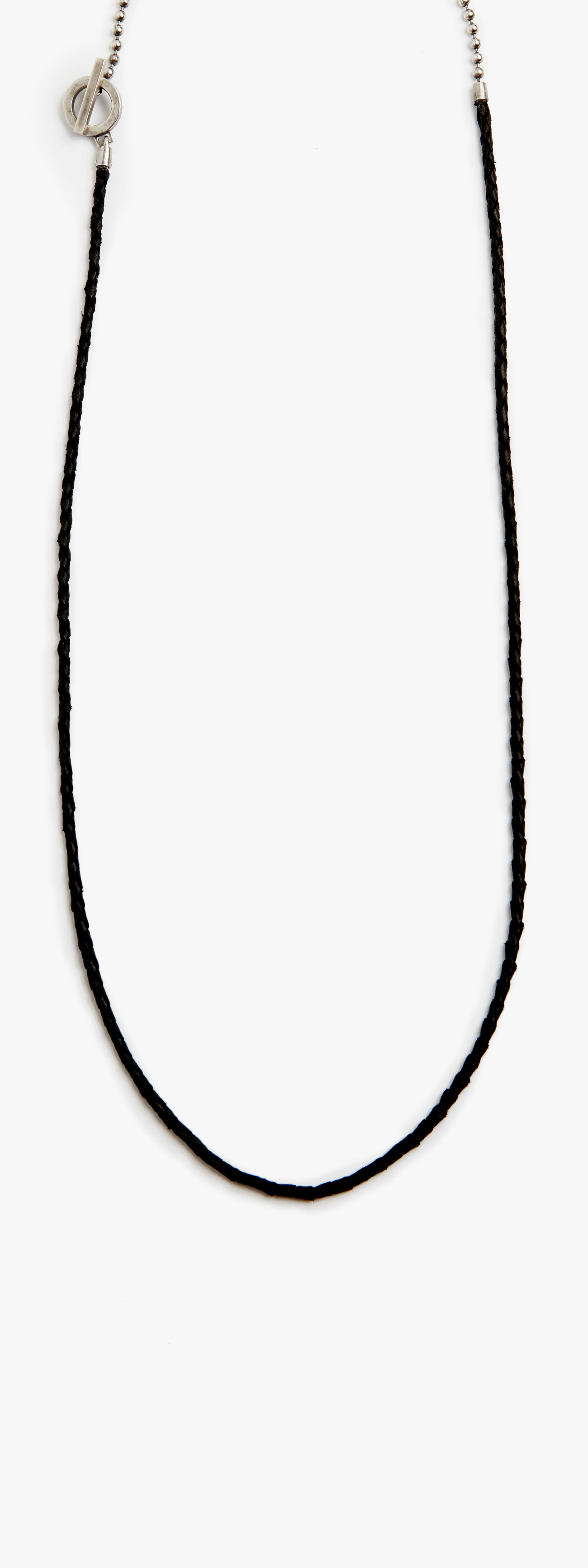 Image of Leather Cord to Sterling Silver Ball Chain Necklace