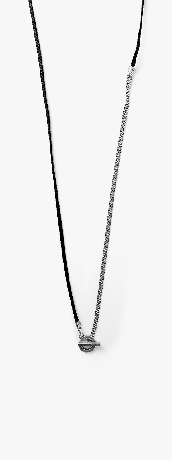 Image of Leather Braid to Double Wrap Curb w/ Toggle Necklace