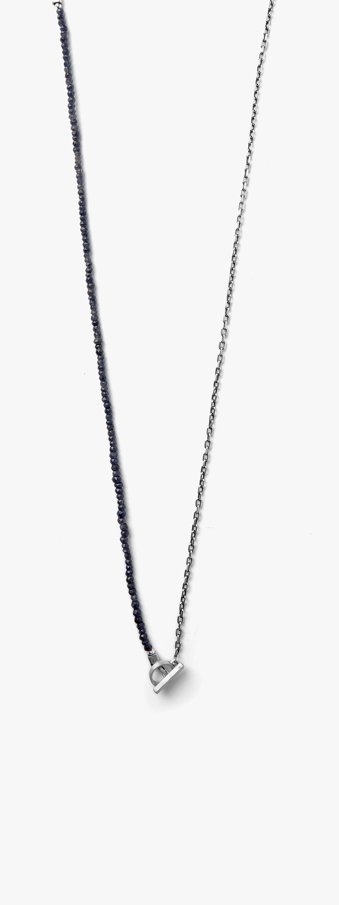 Image of Sapphire Beaded to Anchor Chain w/ Toggle Necklace