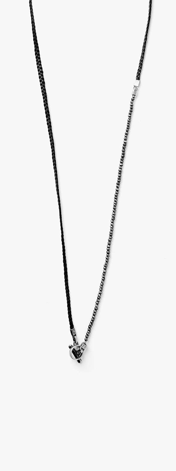 Image of Pyrite Beads to Leather Braid Necklace 070