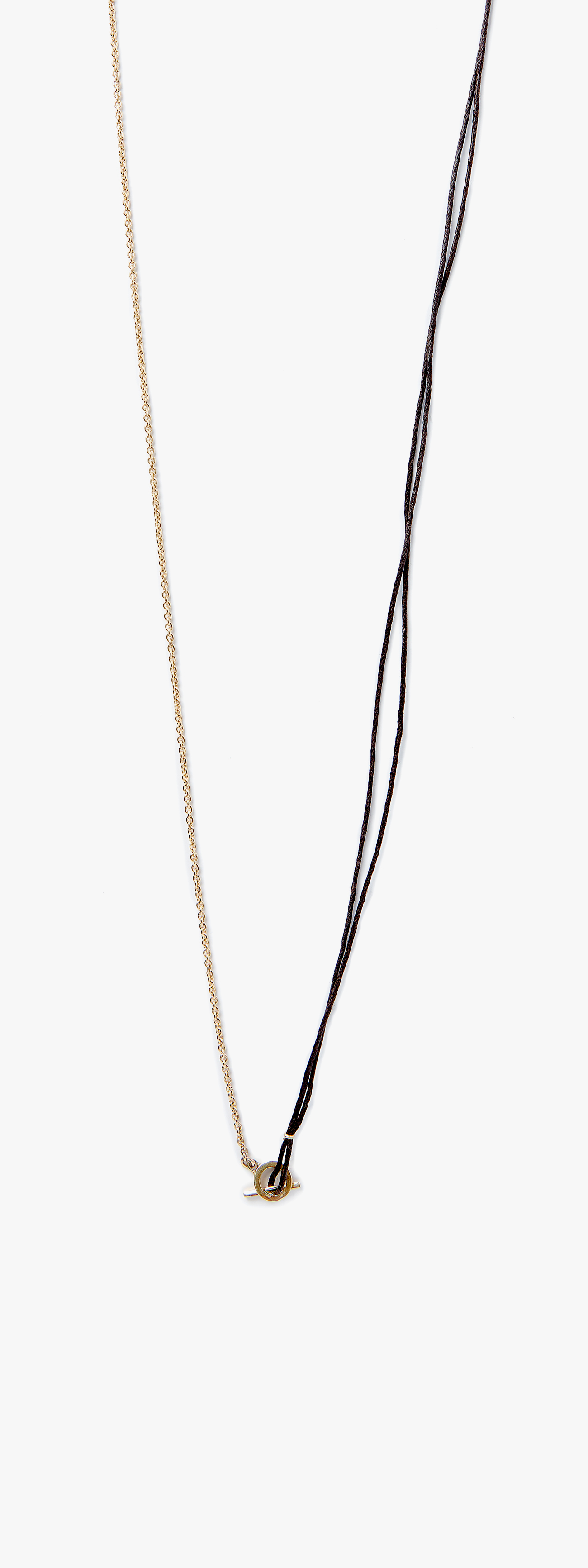 Image of 18k Yellow Gold Cable to Waxed Cotton Cord w/ Toggle Necklace