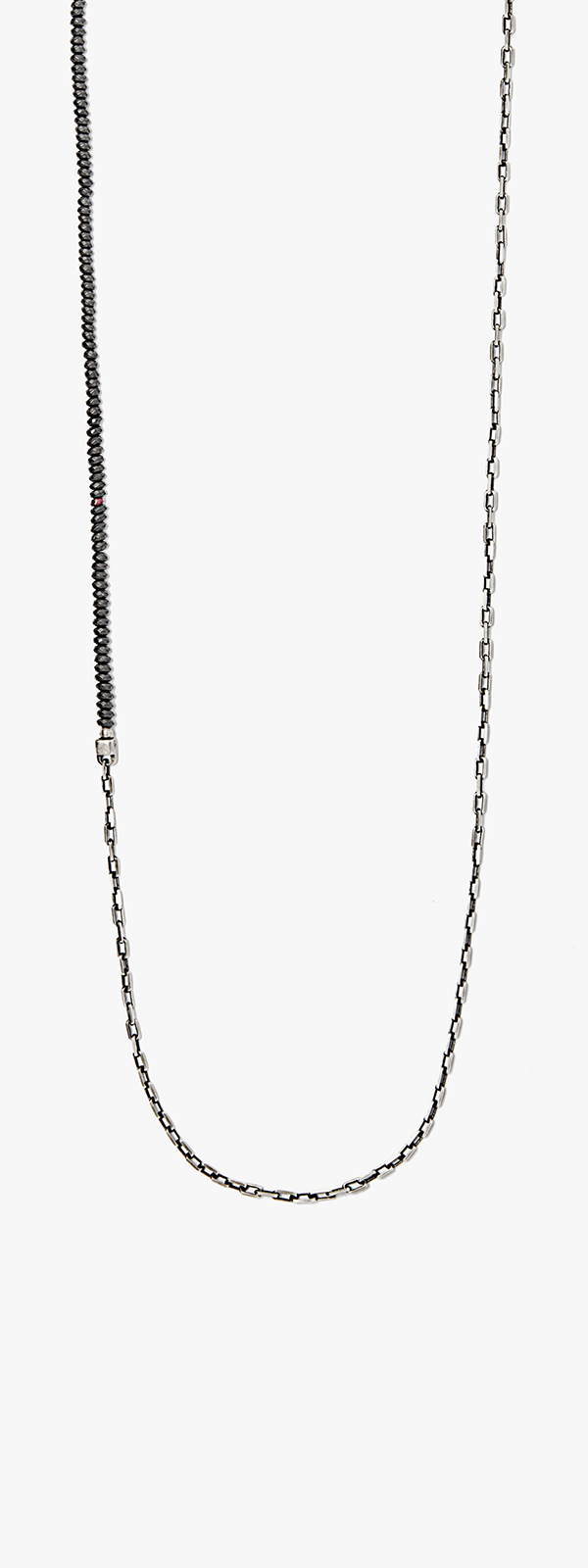 Image of Matte Hematite Bead to Sterling Chain Necklace