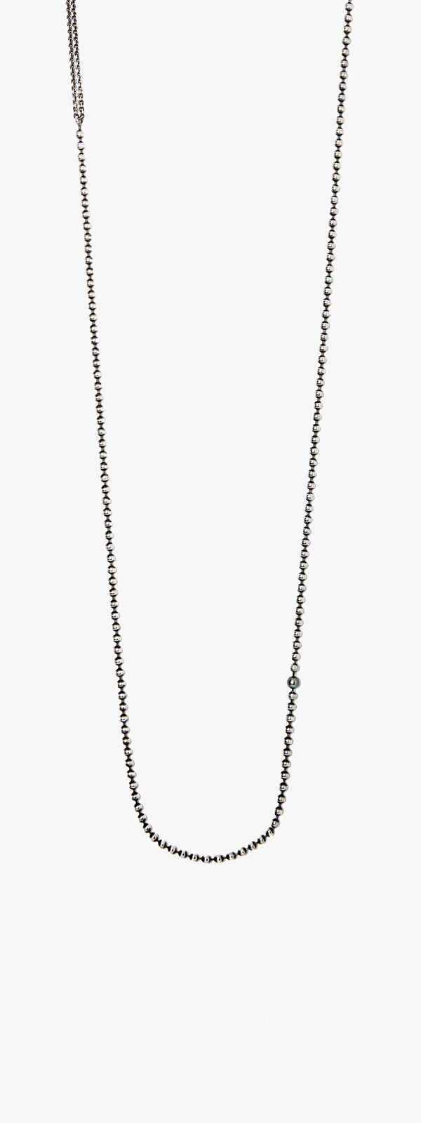 Image of Pearl & Ball Chain Necklace