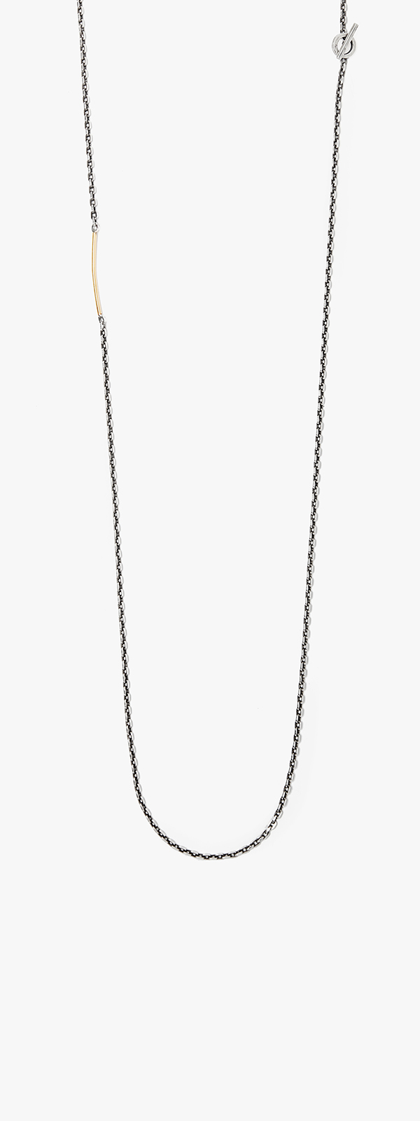 Image of Sterling Cable Chain w/ 18K Gold Bar Necklace