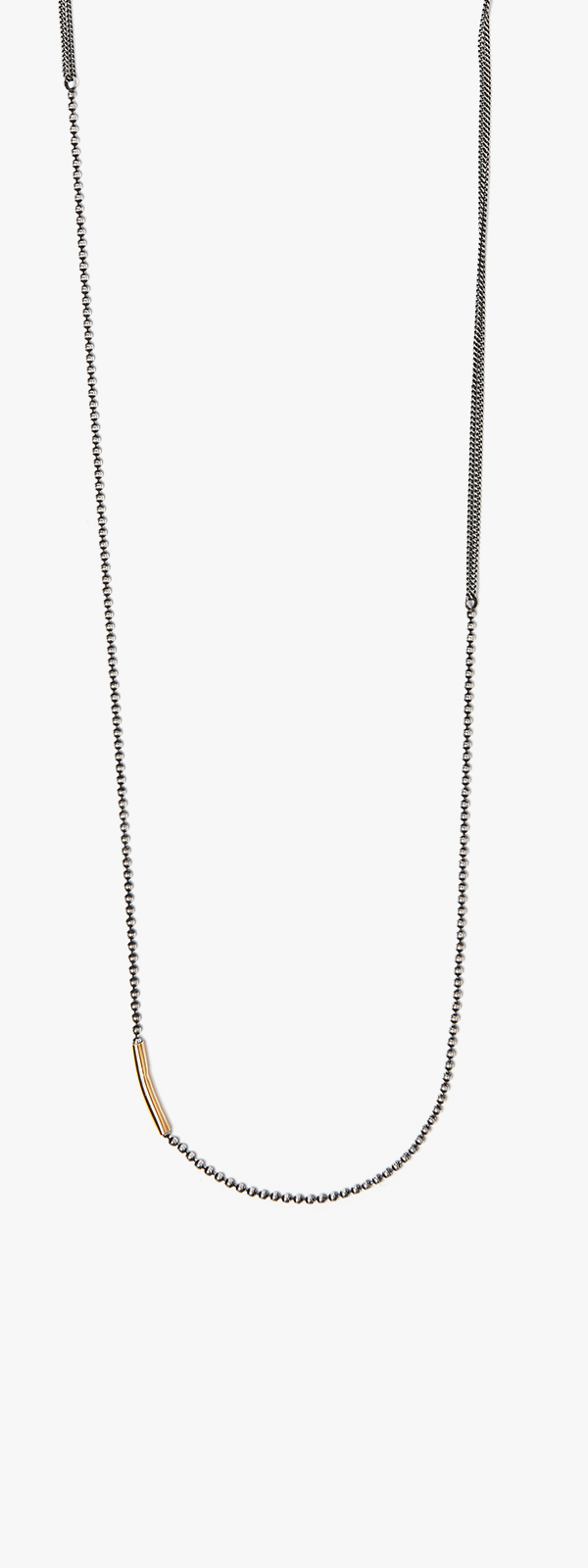 Image of 18k Gold Tube to Mixed Chains Necklace 091