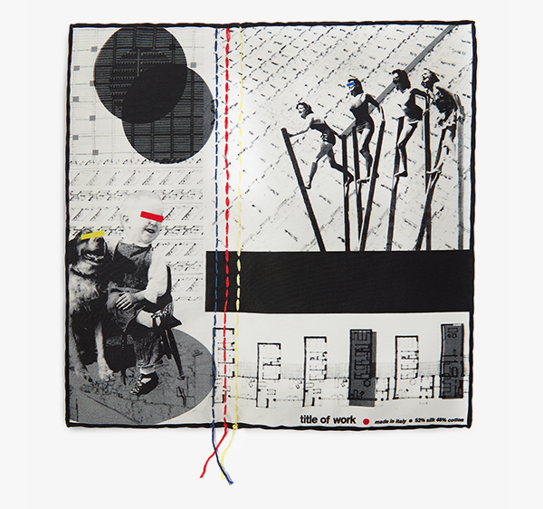 Image of Embroidered Stilts Collage Pocket Square