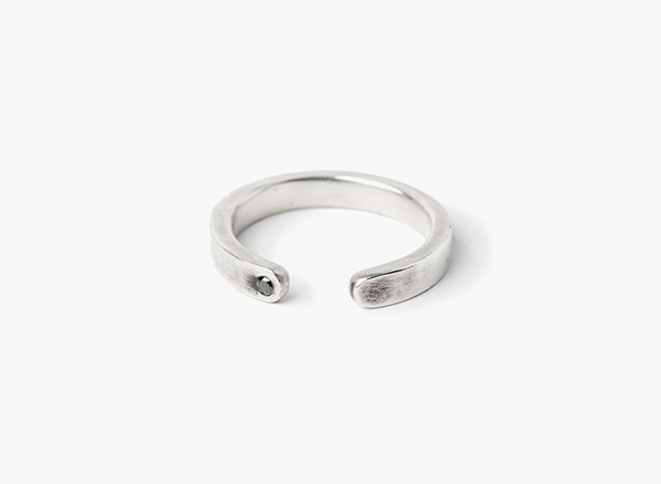 Image of Open Curve Ring w/ Black Diamond