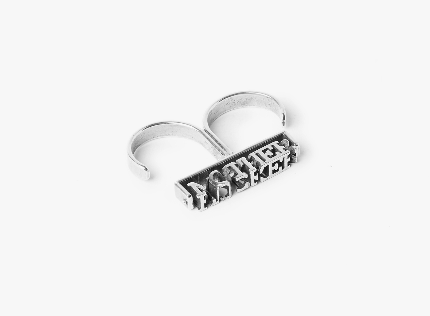 Image of 3D 'M.F.' Double Cuff Ring