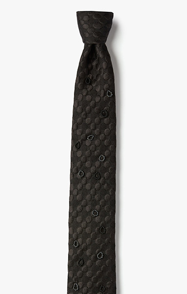 Image of Hand Beaded Circles on Woven Jacquard Necktie 1070