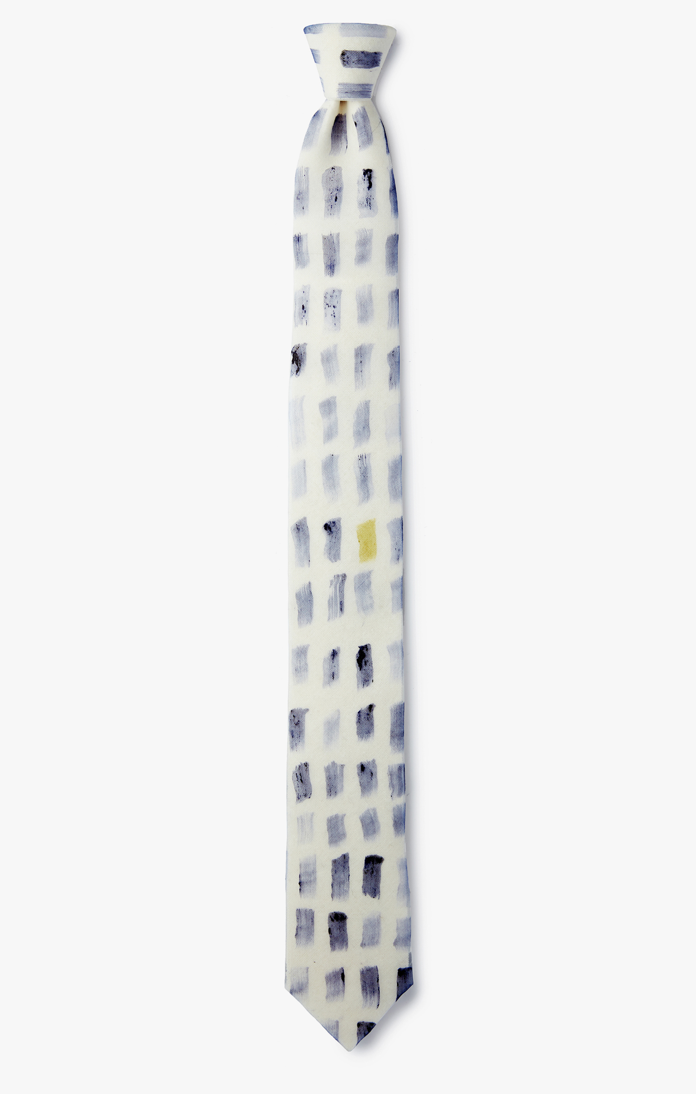Image of Contrast Hand-Painted Grid Necktie
