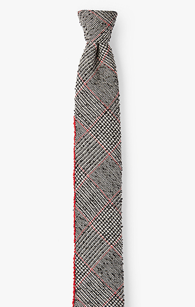 Image of Edge Embroidery / Plaid Necktie